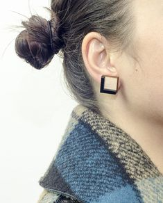 Modern Square Earrings, one size: Sides 1.5 cm, Materials: Wood,Black Plexiglass and Brass ( Studs ). #geometric #minimal #complementary #design #wood #plexiglass #jewelry #essential #deco #contemporary #style #square #earring #black #brass #tile
