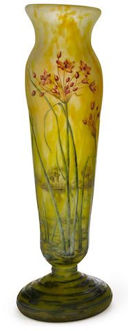 A tall Daum Nancy enameled cameo glass vase circa 1900