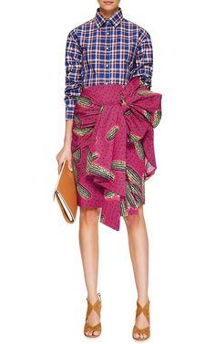 Dugongo Printed Draped Skirt by Stella Jean Now Available on Moda Operandi