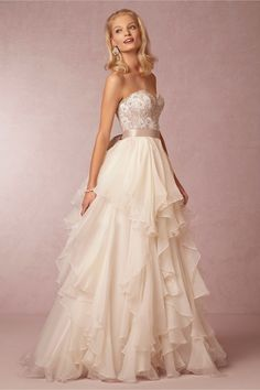 Maelin Corset and Priya Skirt in Bride Wedding Dresses Ball Gown at BHLDN - Can this just not be strapless?!