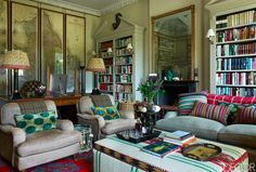 like this layered look; interesting, cozy and that has some color.  from Elle Decor