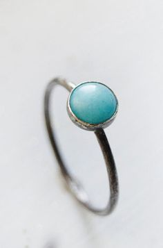 Oxidized Sterling Silver Amazonite Ring