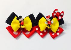 *Made with high quality ribbon *Each bow is approximately 3 inches long in size *Heat sealed to prevent fraying *Attached to a partially lined alligator clip Ribbon Hair Bows, Diy Hair Bows, Diy Bow, Bow Hair Clips, Diy Halloween Hair Bows, Ribbon Flower, Fabric Flowers, Homemade Bows, Minnie Bow