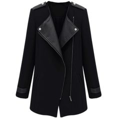 Black Contrast PU Leather Trims Oblique Zipper Coat (1,480 PHP) ❤ liked on Polyvore featuring outerwear, coats, zipper wool coat, long wool coat, zip wool coat, wool coat and long woolen coats