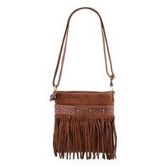 Suede Fringe Crossbody Bag ($17) found on Polyvore