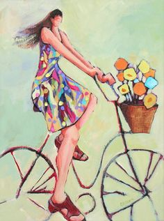 """""Creating a Breeze,"" contemporary figure on a bicycle"" - Original Fine Art for Sale - © Carolee Clark"