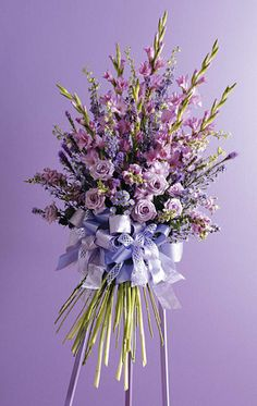 Standing mixed spray of gladiolas and assorted fresh flowers from Bunn Flowers & Gifts, local florist in Pittsburg, TX Arrangements Funéraires, Funeral Floral Arrangements, Casket Flowers, Silk Flowers, Fresh Flowers, Church Flowers, Funeral Flowers, Funeral Sprays, Lavender Bouquet