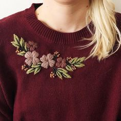 Your place to buy and sell all things handmade Hand embroidered sweater. Embroidery On Kurtis, Kurti Embroidery Design, Floral Embroidery Patterns, Hand Embroidery Videos, Embroidery On Clothes, Embroidery Flowers Pattern, Flower Embroidery Designs, Simple Embroidery, Embroidery Fashion