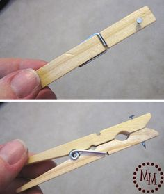 Picture Frame Hanging Tip: A clothes pin and a nail. Great idea to hang picture frames right where you want them.