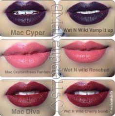 Dupes for popular Mac lipsticks Mac Makeup, Drugstore Makeup, Makeup Tips, Makeup Stuff, Mac Velvet Teddy, Beauty Dupes, Beauty Hacks, Beauty Products, Makeup Products