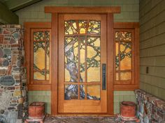 from Craftsman Door Company and I like the colours and off-set of the tree. I think the size, however, overwhelms the space. Craftsman Decor, Craftsman Interior, Craftsman Style Homes, Craftsman Bungalows, Craftsman House Plans, Stained Glass Door, American Craftsman, Arts And Crafts House, Art And Craft Design