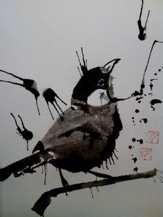 Wenli Bird ink paintnig