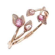 Mathon Paris - Pink gold, diamonds and pink sapphire bracelet.