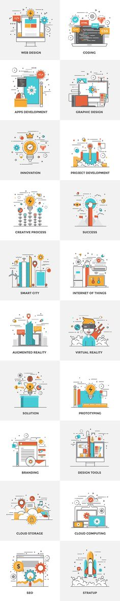 Set of Flat Color Line Design Concepts for creating amazing websites on various topics of Vr Glasses, Cloud Computing, Cloud Storage, Augmented Reality, Internet of Things, Smart city, Startup, Solutions, Prototyping, Web Design, Graphics Design, Tools, e…                                                                                                                                                                                 More