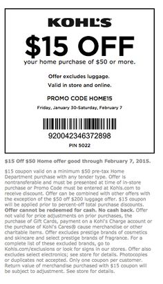 February 2015 Kohls Printable Coupons Printable Coupons, February 2015, Coupon Codes