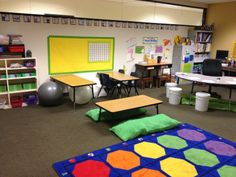 Alternative seating in the classroom. Creative problem solving for a small room. The Reading Rug--Fun in First Grade: The room New Classroom, Classroom Setting, Classroom Setup, Classroom Design, 21st Century Classroom, 21st Century Learning, Classroom Arrangement, Classroom Furniture, Classroom Organisation