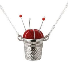 Handmade Gifts | Independent Design | Vintage Goods Pincushion Necklace - Red - Friday's Super Sale