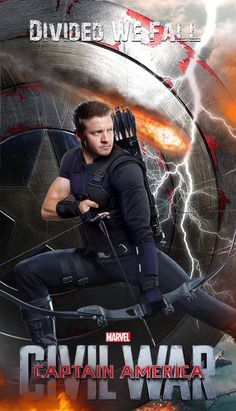Character poster for Jeremy Renner as Clint Barton/Hawkeye in Captain America: Civil War  http://jeremyrennerdaily.tumblr.com/post/142080518451/character-poster-for-jeremy-renner-as-clint