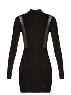 Mesh-insert studded body-con dress | Balmain | MATCHESFASHION.COM