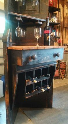 This corner wine rack/cornershelf, and Wine Tasting Bar, fits nicely in about any space, this vintage door has been repurposed, and is a very inviting piece for you home