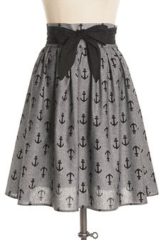 Unique all-cotton gray chambray skirt with anchor prints and contrasting attached black waist sash. Side zipper. 100% cotton Not stretchy Not lined Hand wash cold; hang dry Shop Cute Dresses and Clothing - Canada Anchors Away Skirt in Bow Tie -