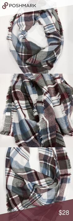 "Silk & Pashmina Blanket Scarf - Wine Gray Plaid Give the gift of luxury! Silk and Pashmina blanket scarf. Winter white background with gray, wine and blue plaid. Fringe edges.   60% Silk  40% Pashmina   60"" x 54""  #DS1100416 Accessories Scarves & Wraps"