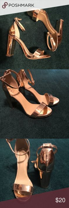 Beautiful rose gold heels Beautiful rose gold heels. Size 8. Never worn but took the tags off. 4in thicker heel. The thick heel helps make them more comfortable and easier to walk in. Makes your foot look super dainty. Shoes Heels