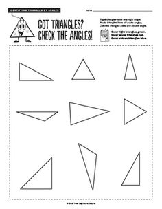 These two geometry worksheets help students classify triangles two different ways. This 3 lesson bundle includes the following activities:  • Length of Sides - equilateral triangles, right triangles, and scalene triangles  • Types of Angles - acute triangles, right triangles, and obtuse triangles. A definition of each type of triangle is listed at the top of each worksheet. Students color each triangle following the directions at the top of the pages.