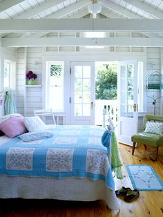 guest room in the cottage. The Old Painted Cottage. Or my master bedroom Decor, House, Beach Inspired Bedroom, Cottage Style, Home, Cottage Decor, Bedroom Inspirations, Bedroom Decor, Coastal Bedrooms