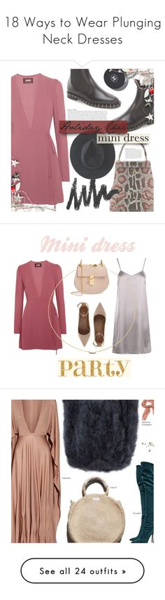 """18 Ways to Wear Plunging Neck Dresses"" by polyvore-editorial ❤ liked on Polyvore featuring waystowear, plungingneckdresses, Reformation, Rubeus, Valentino, Ryan Roche, Anja, Chanel, Boohoo and Aquazzura"