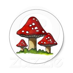 Red Toadtstools, Mushroom: Freehand Art: Round Sticker