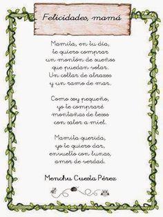 """Poema """"Día de la madre"""" de Menchu Cuesta Pérez - descarga los diferentes modelos"""