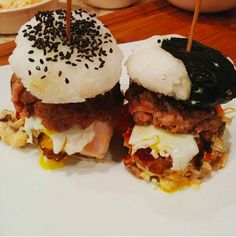 Sushi burger! This creation features pork belly as the main protein.