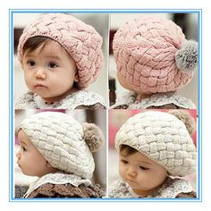 New Baby Cute Winter Knit Crochet Beanie Hat For Baby Kids Girls - mom