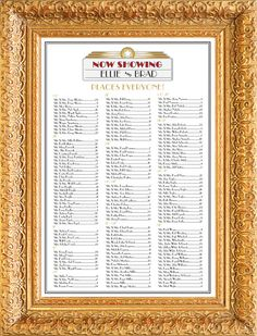 """Movie Marquee Seating Chart /Table Assignment for your Wedding or Special Event - Large 24"""" x 36"""" holds 150 lines-approximately 300 people"""