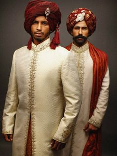 Indian men look best in traditional ethnic wear. Done in a combination of light beige and maroon, these sherwanis are grand. Designer  #DeepakPerwani  #Shaadimagazine