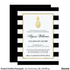 Striped Golden Pineapple Tropical Bridal Shower Card This stylish bridal shower invitation has a trendy black and white striped background, with a faux gold frame border and pineapple for a modern, tropical look!