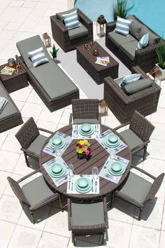 Tuscany 14 Piece Outdoor Patio Furniture Combination Set in Brown Deck Furniture Layout, Outdoor Furniture Sets, Pool Patio Furniture, The Sims, Gazebo, Outdoor Seating, Outdoor Decor, Outdoor Spaces, Outdoor Living