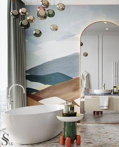 "Portfolio: City view apartment in ""Moscow-City"" centre Best Bathroom Designs, Bathroom Design Luxury, Cheap Dorm Decor, Interior House Colors, Interior Plants, Home Remodeling Diy, Quirky Home Decor, Luxury Homes Interior, Elegant Homes"