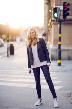 Casual - Sofie Fahrman wearing a Dagmar Leather Jacket, Anine Bing Sweater and Jeans and Céline Skates.