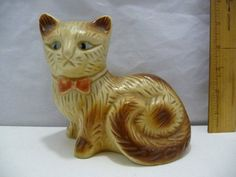"Kitty Cat Porcelain Figurine Made in Brazil Tan & White 5"" Tall x 5 1/2"" Lon…"