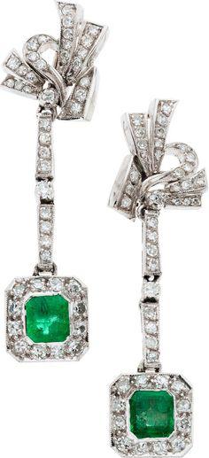 Emerald, Diamond, White Gold Earrings