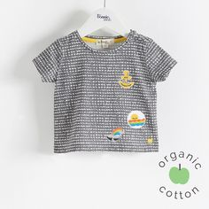 The Bonnie mob SS16 - The Life Aquatic. REEF Organic Cotton Graphite Bubbles Baby and Kids Unisex T-Shirt with Badges.
