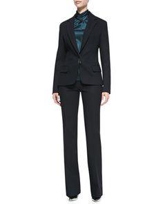 Bi-Stretch Wool Lapel Jacket, Long-Sleeve Hammered Silk Blouse & Bootcut Pants by Jason Wu at Neiman Marcus.