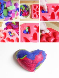 Paper Crafts: Paper Pulp Pendants - Babble Dabble Do Kids Crafts, Projects For Kids, Diy For Kids, Craft Projects, Arts And Crafts, Paper Crafts, Craft Ideas, Valentines Day Activities, Valentine Day Crafts