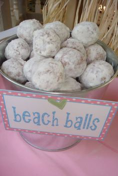 mexican wedding cookies in a galvanized pail, super cute and easy to serve