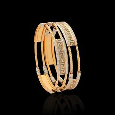 Pearl bangle designs always give that classy look to the wearer. Embrace the enchanting glamour & get these beaded gold bangles of high quality at Zar Jewels. Gold Ring Designs, Gold Bangles Design, Gold Earrings Designs, Gold Jewellery Design, Gold Jewelry, Jewellery Earrings, Fashion Earrings, Gold Bangles For Women, Womens Jewelry Rings