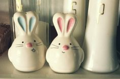 Rabbit Salt and Pepper Shaker Blue and Pink | The Home Design Studio | So cute!!
