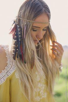 Coachella, Feather Headband, Headpiece, Boho Feather Headress, Coachella Music Festival Accessories, Feather Crown, Bohemian hairpiece,