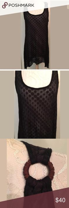 """Letarte Handmade black coverup dress Letarte Handmade Size small Black Semi-sheer with polka dots acrylic/poly blend Made in USA  Great cover up!  Excellent condition From clean, non-smoking home   Measurements (flat/unstretched) Under arms across the back 19"""" At waist  25"""" stretches to 30""""  Around bottom hem 53"""" Down middle of back 32 """" letarte Swim Coverups"""